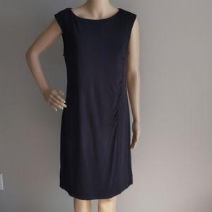 ANN TAYLOR LOFT BLACK SLEEVELESS RUCHED DRESS SZ M